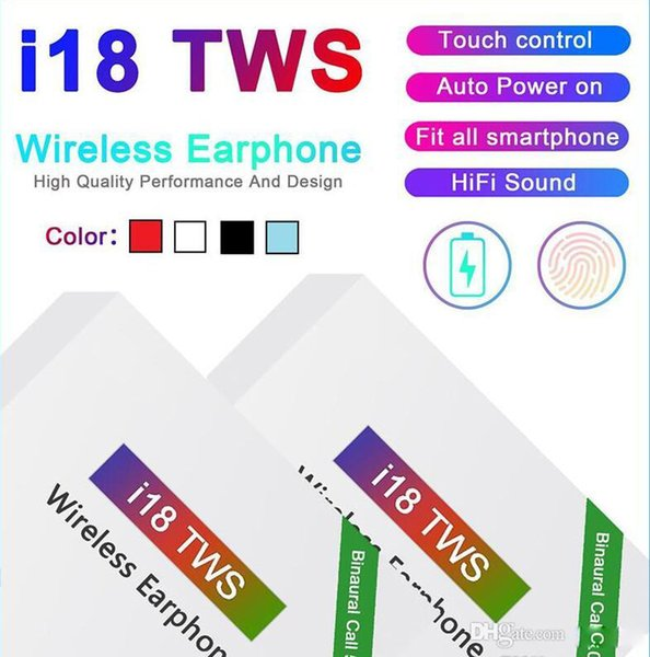 i18 tws bluetooth 5.0 earphones earbuds wireless headsets 3d sound touch control for ios android smart phone