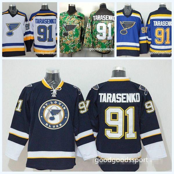 new style 9ed17 c4538 2018 St. Louis Blues Hockey 91 Vladimir Tarasenko Jerseys For Sport Fans  Team Color Navy Blue White Alternate Sewn On 100% Embroidery From ...