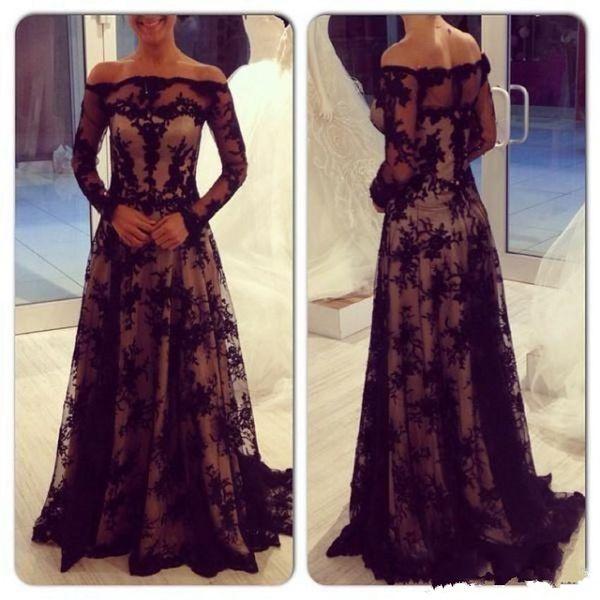 Long Sleeve Lace Mother of the Bride Dress Off Shoulder Floor Length A Line Modern Women Formal Evening Party Dress 128