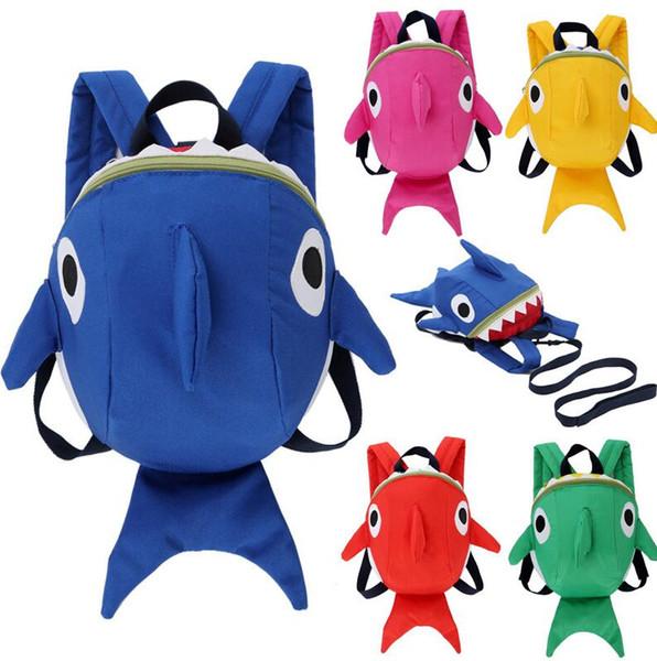Baby Shark Mochila Leash Toddler Anti-lost School Bag Girl Boy Kids Niños Bolsas escolares Arnés al aire libre Escolar Mochilas AAA1839