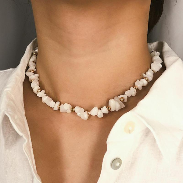 Natural Stone Irregular Beads Necklace Crystal Choker Women Jewelry Gift Gift Accessories For Women Dropshipping