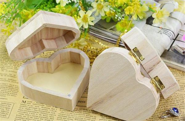 Nuove scatole di immagazzinaggio di casa a forma di cuore scatola di legno regalo di nozze scatola di immagazzinaggio di casa orecchini anello scatola di gioielli