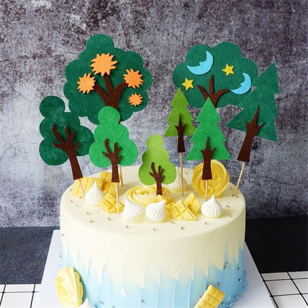 Creativo foresta dell'albero cake topper bigné della carta Topper per i bambini festa di compleanno Forniture fai da te Forest Theme della decorazione della torta del partito