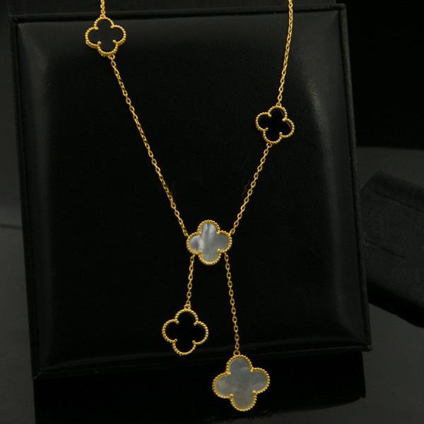 Sıcak kadın takılar moda Düğün hediyesi için kabuklar akik boncuklar dört yapraklı yonca saçaklı kolye bakır altın kaplama boyut kolye satan