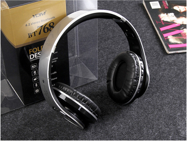 New BT768 wireless Bluetooth headset headband earphones plug-in card sports stereo headset folding headset for IOS Andorid