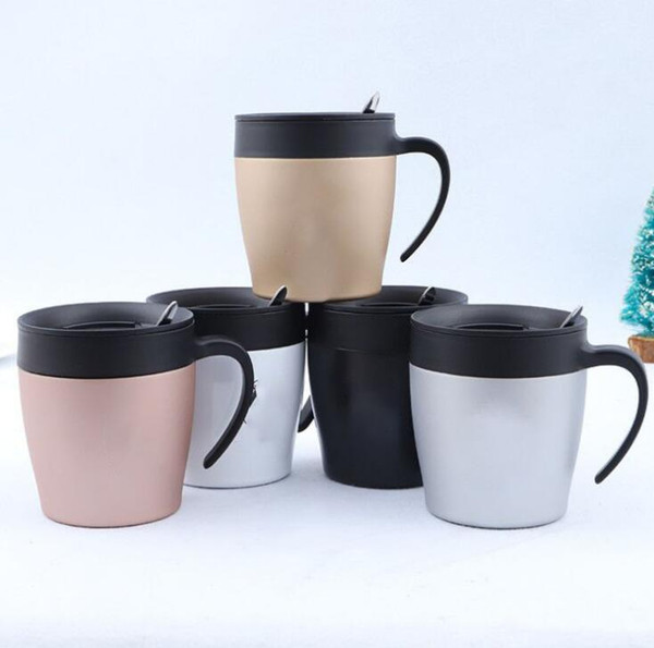 Stainless Steel Coffee Tea Mug Cup Camping Travel Protable Beer Mugs With Handle Children Milk Cup With Spoon Can Customizable
