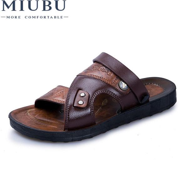 MIUBU Leather Men's Sandals Fashion Leather Male Sandals Summer Men Shoes Mens Beach 2019 Men's Sandles #161697