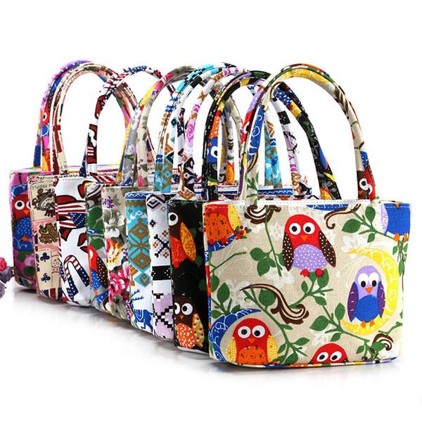 Cheap Fashion Fashion Girl Lovely Canvas Handbag Women Daily Single Shoulder Handbag Female Canvas Beach Bag Printed Bags