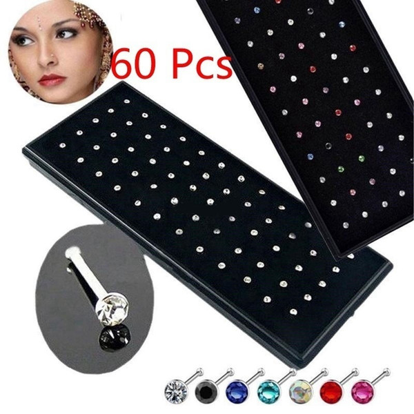 60 Pieces/pack Stainless Steel Crystal Nose Ring Set Women Girl Surgical Steel Nose Piercing Crystal Nose Stud Lot Body Jewelry SH190727