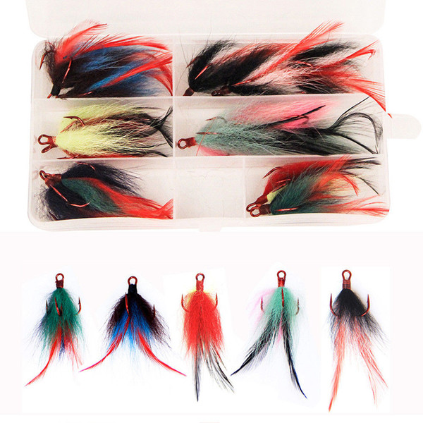 Fishing Triple Hook with Feather 15Pcs/box Dressed Replacement Fishing Treble Hooks 2# Teaser Feather PIKE BASS