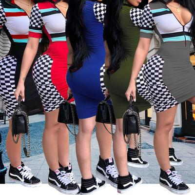 Womens Designer Dress Sexy Zipper V-neck Dresses Fashion Party Style Plaid Skinny Clothes Casual Striped Bodycon for Ladies 2019 Summers