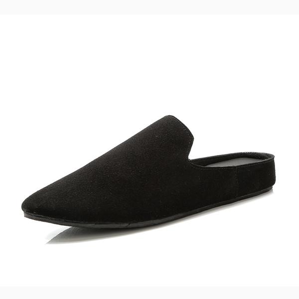 New Summer Men Leather Shoe Designer Half Drag Loafers Mens Flats Footwear Slip on Casual Driving Shoes for Men Black Gray