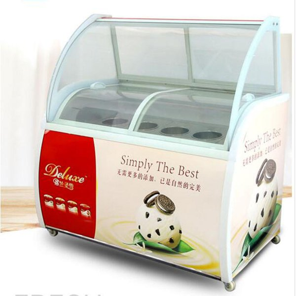 best selling ice cream display cabinet glass food Freezer manual popsicle showcase 12 round barrels or 14 square barrels ice cream display cabi