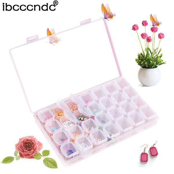 28 Slots Storage Box Clear Nail Art Rhinestones Tool Jewelry Beads Display Empty Clear Plastic Storage Box Case Organizer Holder