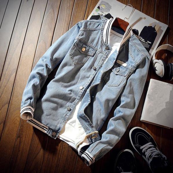 Spring Men's Denim Jacket Casual Solid Color Cotton Jacket Slim Top Large size coat SH190905