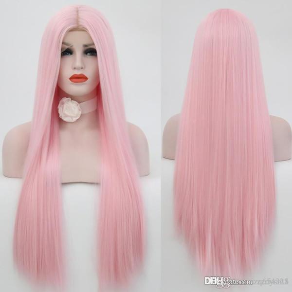 Mittlerer Teil Straigh Perücke Hand gebunden rosa Farbe hitzebeständige Haar Cosplay synthetische Lace Front Perücken für Frauen knhj21