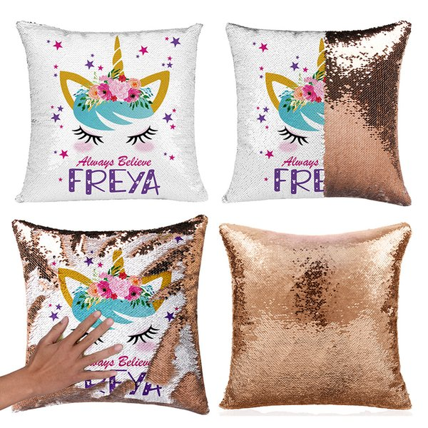 Unicorn Sequins Pillow Case Reversible Pillow Cover Mermaid Sequin Pillowcase Sofa Cushion Unicorn Decorative Pillow covers GGA2001