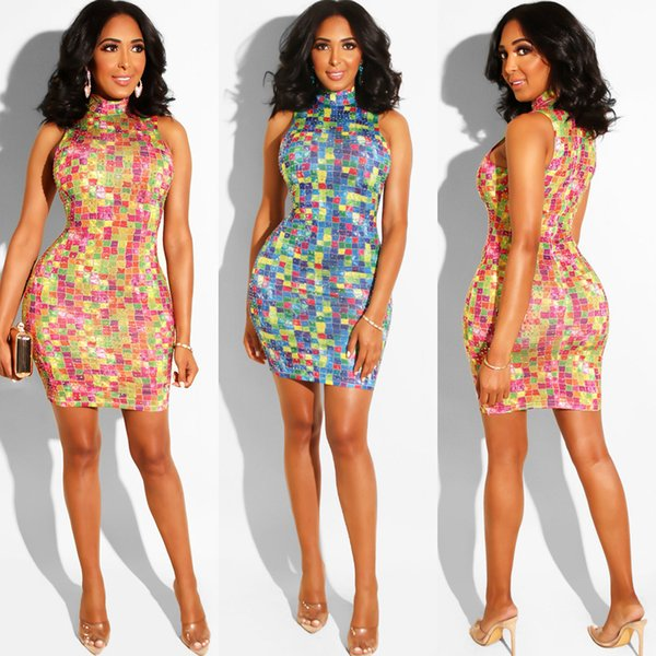 Hot Drilling Colour Summer Dresses Sleeveless Skinny Ladies Bodycon Dresses Club Pencil Dresses