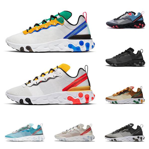 Acheter 2020 Nike React Element 55 87 Chaussures De Running Pour Hommes  Femmes Tour Yellow BLANC ROYAL RED Baskets Formateur De Sport Noir Triple  ...