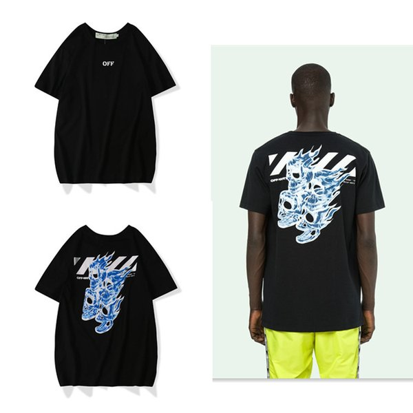 19s New Pattern Human Skeleton Head Printing Pure Cotton Short Sleeve Wind Easy Tide Card T T-shirt Men And Women Paragraph