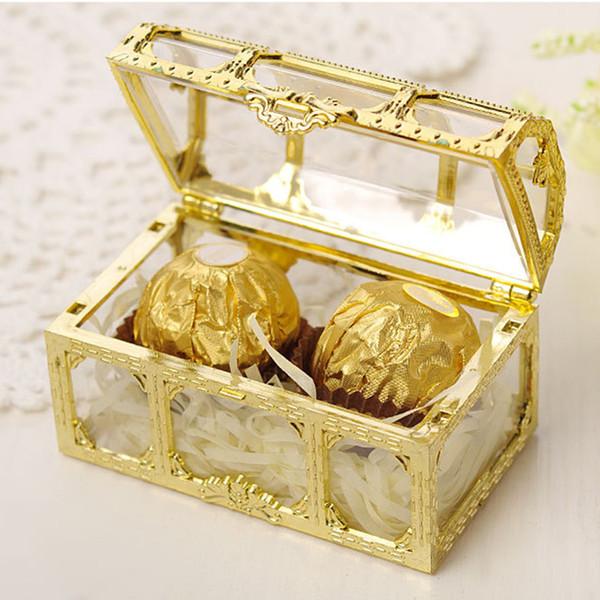 1 STÜCK Kreative Kunststoff Gold Pralinenschachtel Hochzeit Vintage Süßigkeitskästen Schokolade Geschenk Behandeln Boxen Hochzeitsfestbevorzugung