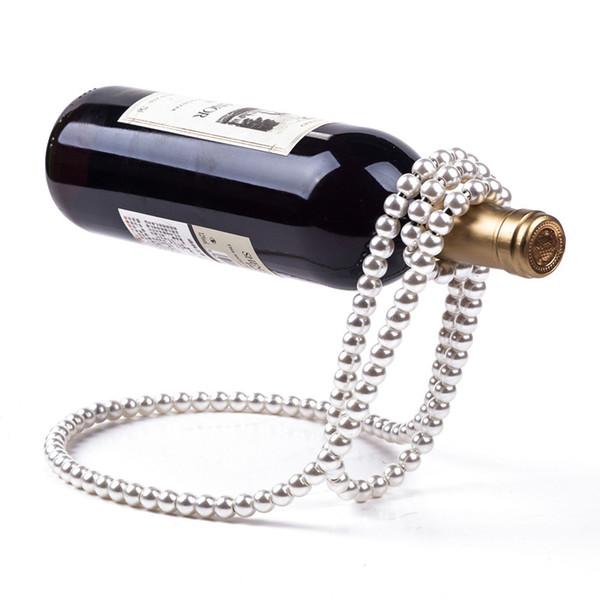Original Pearl Necklace Wine Rack Suspension Bar Display Stand Bracket Creative Red Wine Necklace Holder Party Favor Decor