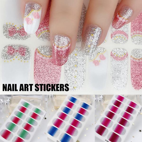 Nail Art Маникюр декора Градиент цвета DIY наклейки для ногтей Блеск Наклейка Декор Поставки Таблички WH998