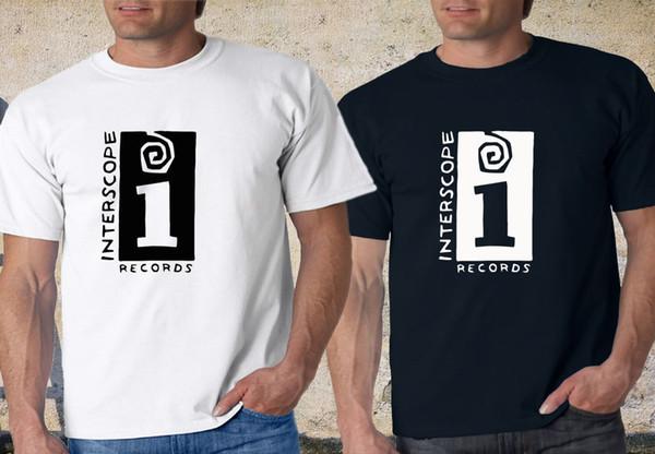 Совершенно Новый!!!Interscope черный белый футболка XS-3XL смешно 100% хлопок футболка ретро старинные классические футболки