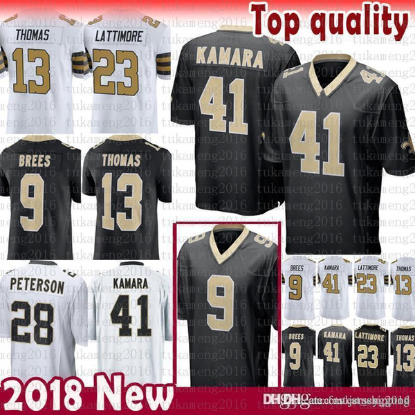 the latest 6fa4e 5744b 2019 New Orleans Saints 9 Drew Brees 41 Alvin Kamara Jersey 13 Michael  Thomas 23 Marshon Lattimore 28 Adrian Peterson Jerseys Black Color Rush  From ...