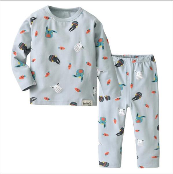 Ropa de hogar para niños nuevos para niños 2019 Conjunto de dos piezas de ropa interior cálida para niños y niñas con estante pulido de gamuza y traje de impresión de algodón Be