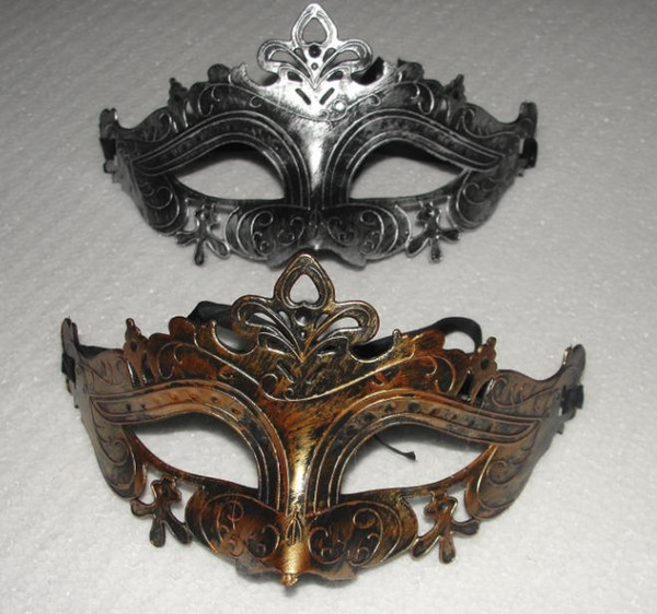Newest Hot!!!Retro Greco Roman Mens Mask for Mardi Gras Gladiator masquerade Vintage Golden/Silver Mask silver Carnival Halloween Masks