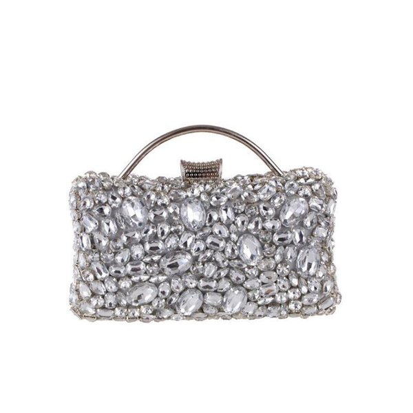 Women Socialite Silver Rhinestones Crystal Evening Clutches Bag Wedding Dress Bridal Diamond Chains Shoulder Handbags Purses NEW