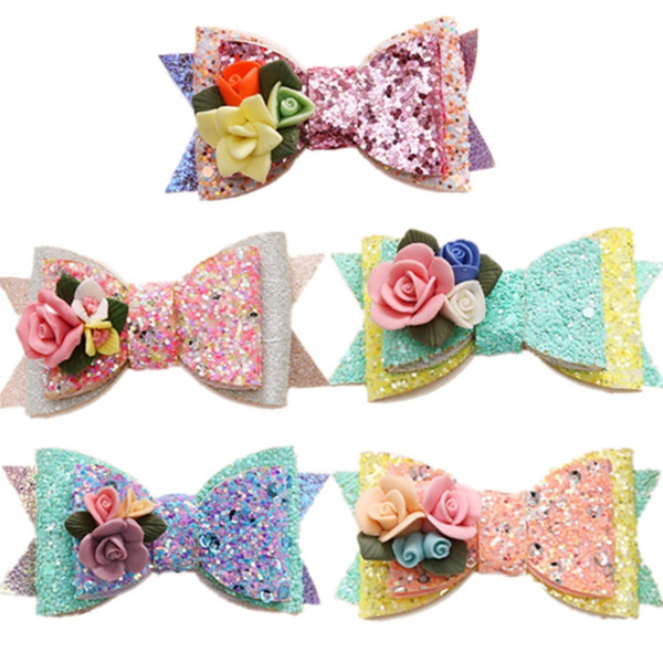 top popular Girl Sequined Hair Clip Classic Princess Stereo Flowers Barrettes Cute Kids Bow Barrettes Fashion Party Accessories TTA857 2019