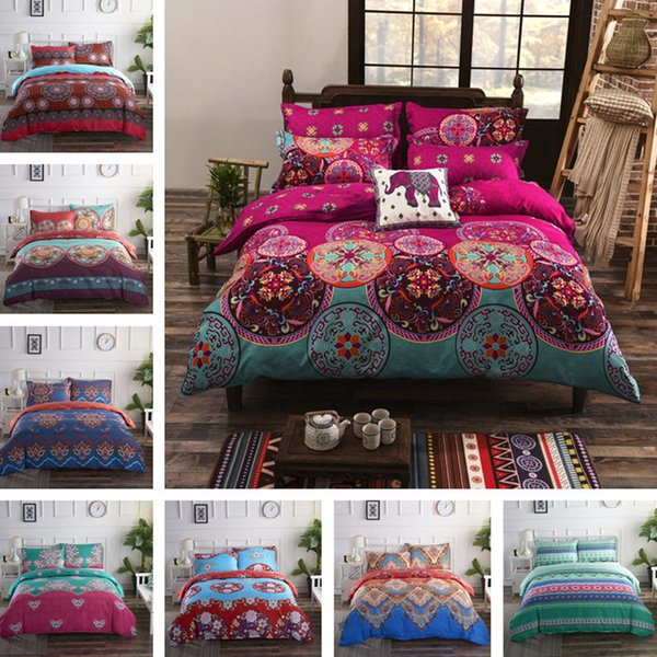3pcs Vintage Style Duvet Cover Set (1 Bed Cover 2 Pillow Case) Polyester Fabric Twin Full Queen King Size Bedding Sets Machine Washable