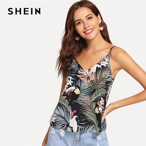 SHEIN Multicolor Tropical Impressão V Pescoço Cami Topo Mulheres 2019 Verão Morden Senhora Streetwear Strap Minimalista Noções Básicas Coletes