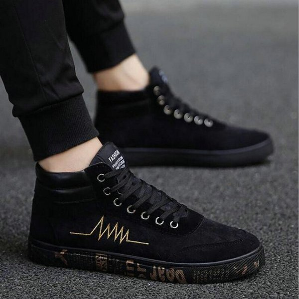 2018 New fashion All Black Men lace up walking shoes canvas shoes high top sneakers Male Boys casual flats sneakers shoes NN-33