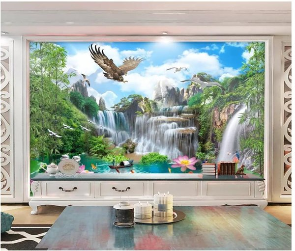 Custom large-scale mural 3d photo wallpaper Waterfall eagle landscape painting water and wealth landscape background wall stickers