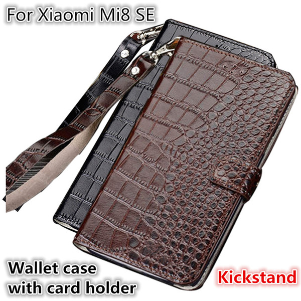 QX10 Crocodile Texture Gneuine Leather Wallet Case With Card Holders For Xiaomi Mi8 SE Phone Case Fundas With Lanyard