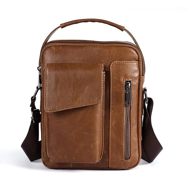 Cool Mens Bag Leather Genuine Vintage Man Messenger Bag Small Flap Business Zipper Male Shoulder Crossbody Bags For Men Tote