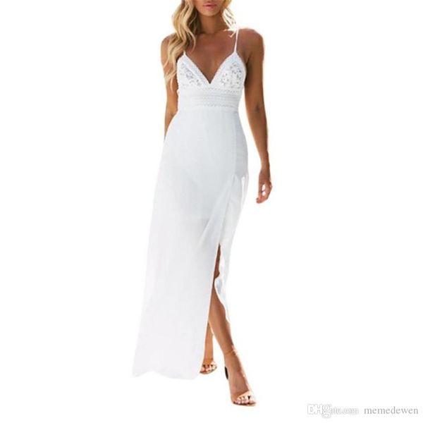 Women Chiffon White Dress V Neck Split The Fork Lace Long Dresses Sexy Bandage Back Beach Maxi Dress NB-1045