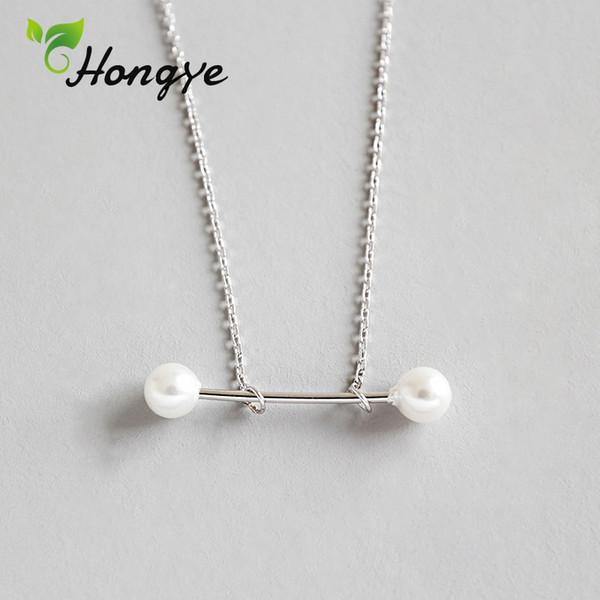 Hongye Collana di perle vere per le donne Design semplice Collana con ciondolo di perle naturali Argento 925 Gioielli da collo personalizzati per ragazze