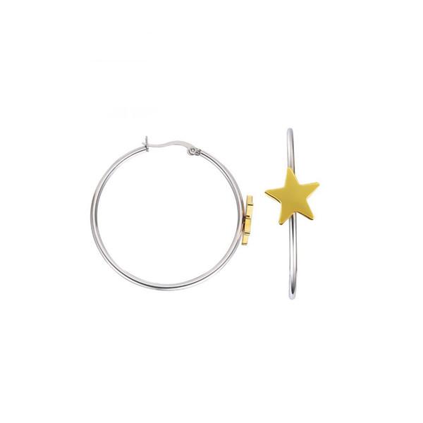 Gold Huggie Hoop Earrings Star Hinged Hoop Cuff Earrings for Women Big Loop Round Gold with Hypoallergenic Steel