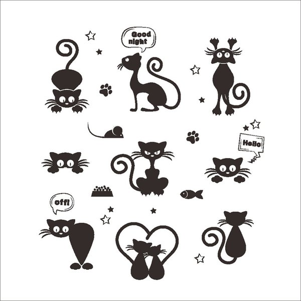Lovely Cat Light Switch Phone Wall Stickers For Kids Rooms Diy Home Decoration