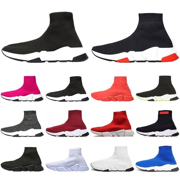 Rouges Mode Chaussures Designer Acheter Décontractées Pour Luxe Chaussures Bottes Vitesse Coureur Chaussettes 2019 Bottes Formation Triple Plates qVUzjLSpMG