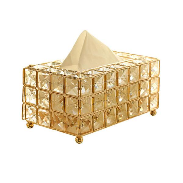 Scatola di tessuto di cristallo metallo stile europeo portatovagliolo tessuto rimovibile cucina soggiorno decorazione sala da pranzo