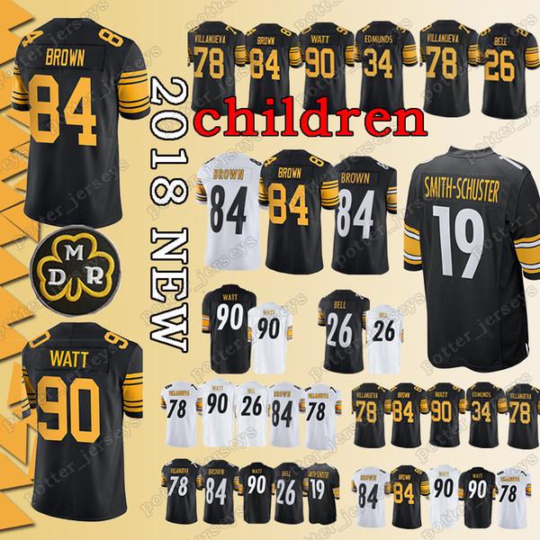 f6150e794c3 YOUTH Pittsburgh Steeler Jerseys 90 T.J. Watt 84 Antonio Brown 26 Le Veon  Bell 78 Alejandro