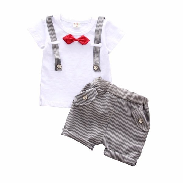 2019 New Summer Bow Clothes Baby Gentleman Strap Shape Cotton Short T Shirt 2PCS/Sets Toddler Boys Clothing Casual Kids Outfits