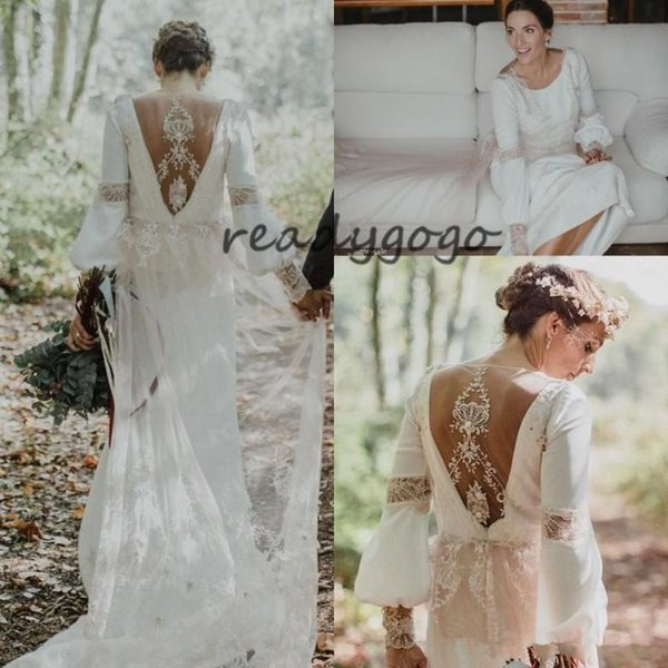 Vintage Bohemian Wedding Dresses with Long Sleeve Stunning Lace Hollow Back Sweep Train Country Garden Outdoor Bridal Gowns
