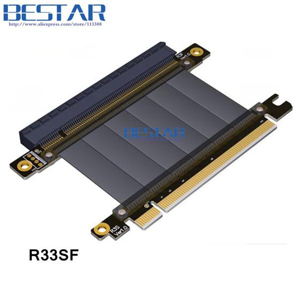 PCie 16 Riser Gen3.0 PCI-E 3.0 16x macho Para pcie x16 fêmea direita esquerda cotovelo PCI Express Riser extensão da placa gráfica