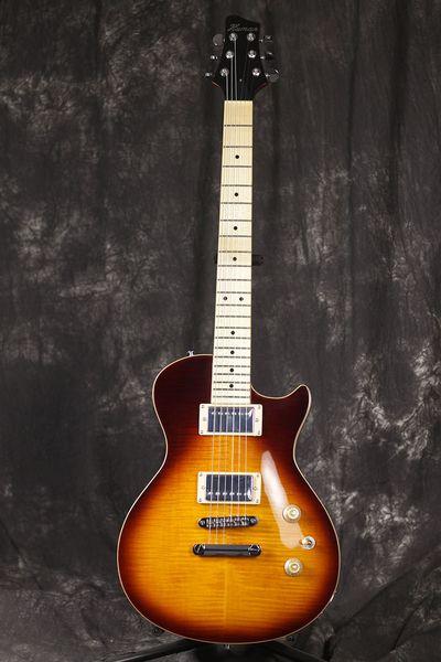 estilo LP guitarra elétrica, fingerboard bordo, corpo Mahogany Com Bege Top, frete grátis!